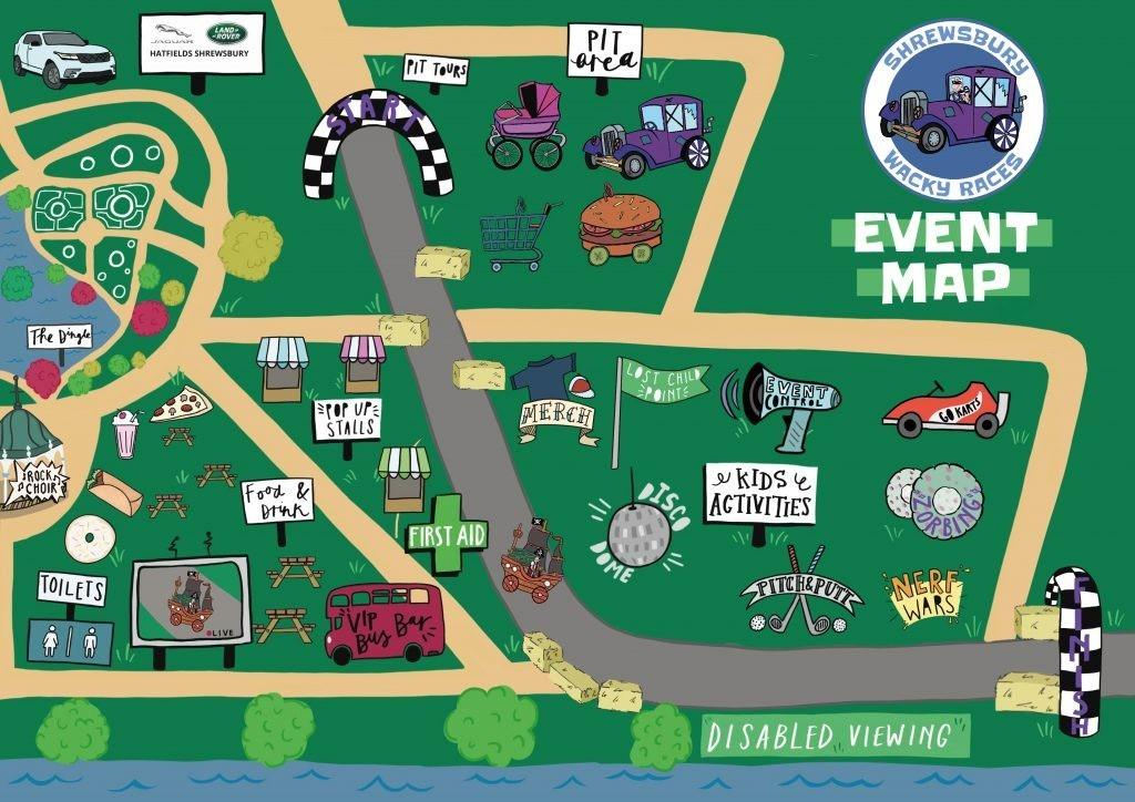 Shrewsbury Wacky Races Event Map